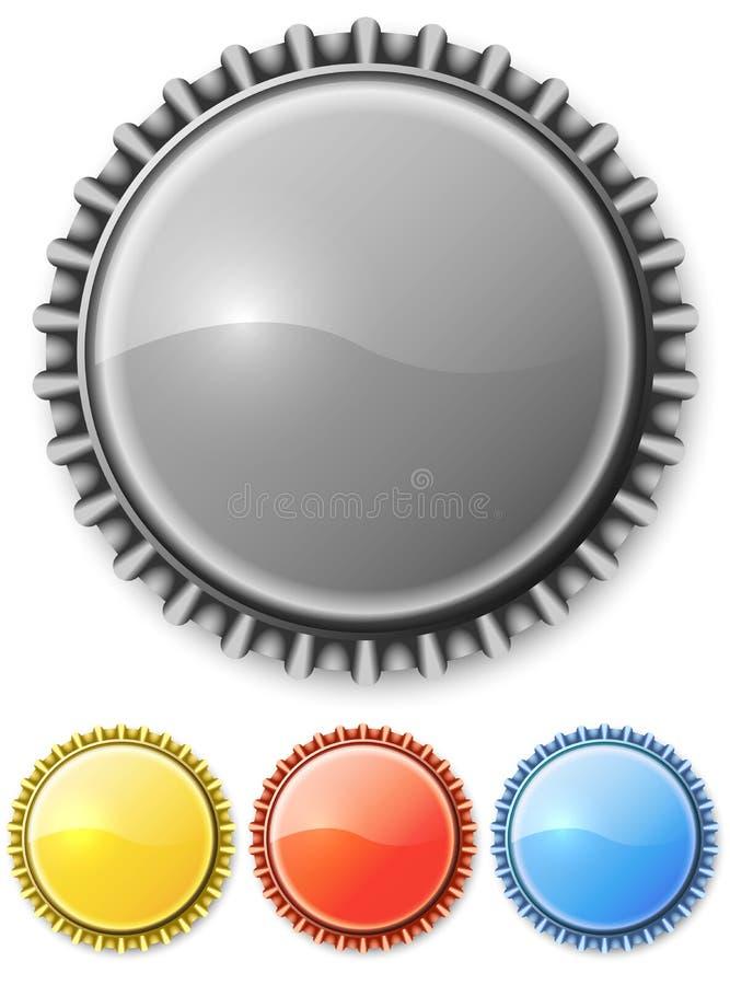 Belägga med metall kapsylen stock illustrationer