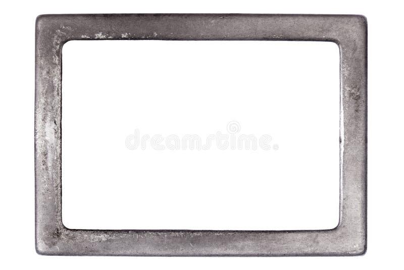Belägga med metall ramen med rum för text på vit bakgrund arkivbilder