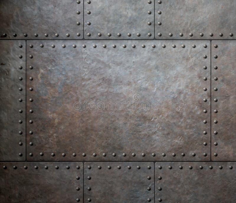 Belägga med metall textur med nitar som ångapunkrockbakgrund royaltyfri bild
