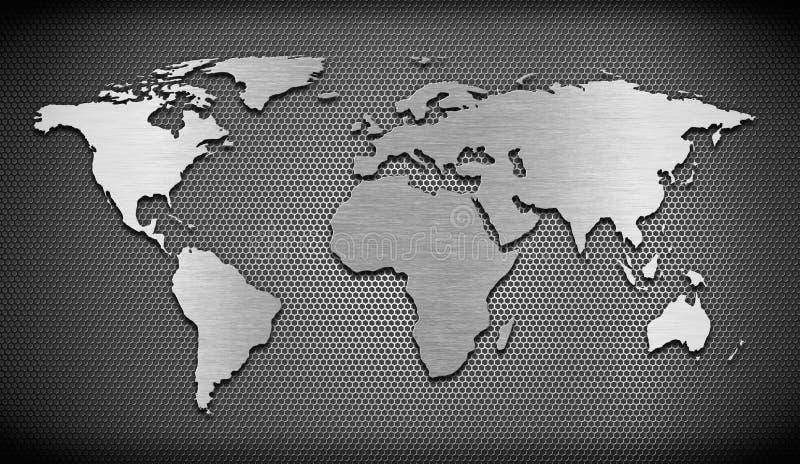 Belägga med metall världen kartlägger på spisgallerhårkammen royaltyfri illustrationer