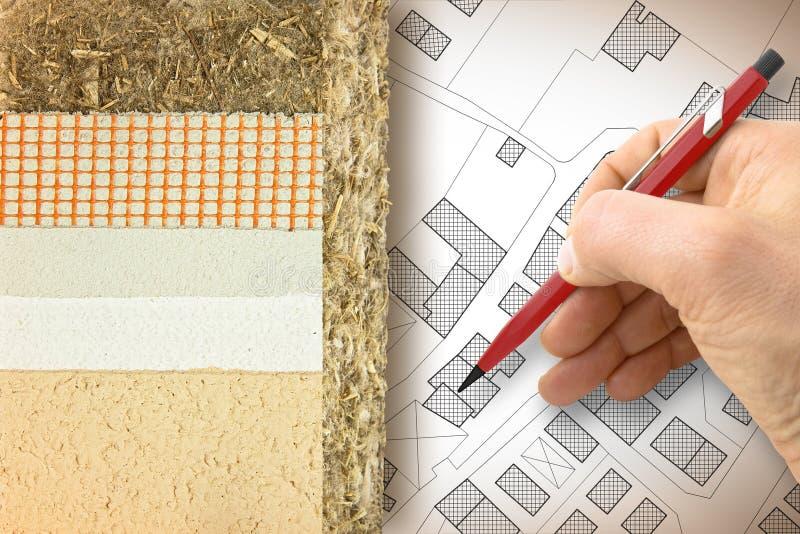 Beläggningar för termisk isolering med hampa för byggande energieffektivitet och att förminska termiska förluster - begreppsbild  royaltyfri fotografi