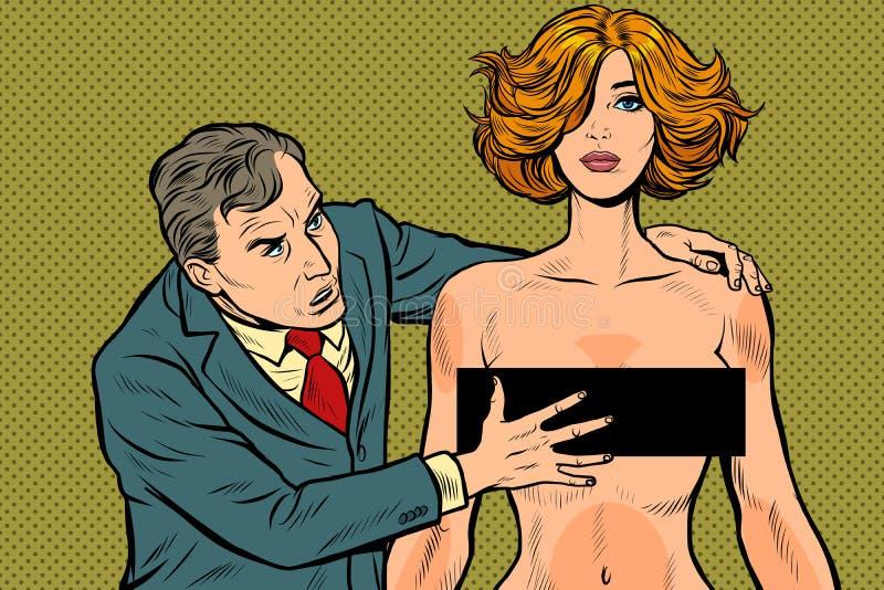 Belästigung männlicher Geschäftsmann, der eine Frau ergreift unannehmbares Verhalten Verletzung der Arbeitsethik vektor abbildung