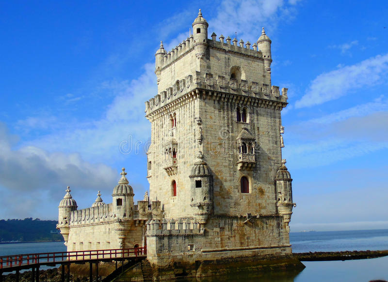 Belém Tower. Is a fortified tower located in the civil parish of Santa Maria de Belém in the municipality of Lisbon, Portugal. It is a UNESCO World stock photo