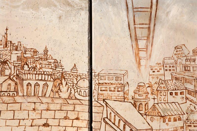 Belén - el detalle del graffitti en la barrera de separación La escalera simbólica del límite de la paz al cielo foto de archivo libre de regalías