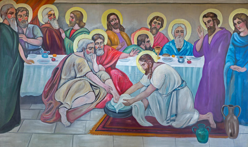 Bel n el fresco moderno de los pies que se lavan en la ltima cena a partir del 20 centavo en - Belen moderno ...