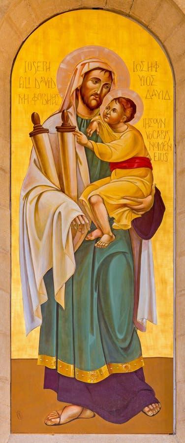 Belén - el icono de San José en la iglesia del St Catharine firmada como SMB imagen de archivo libre de regalías