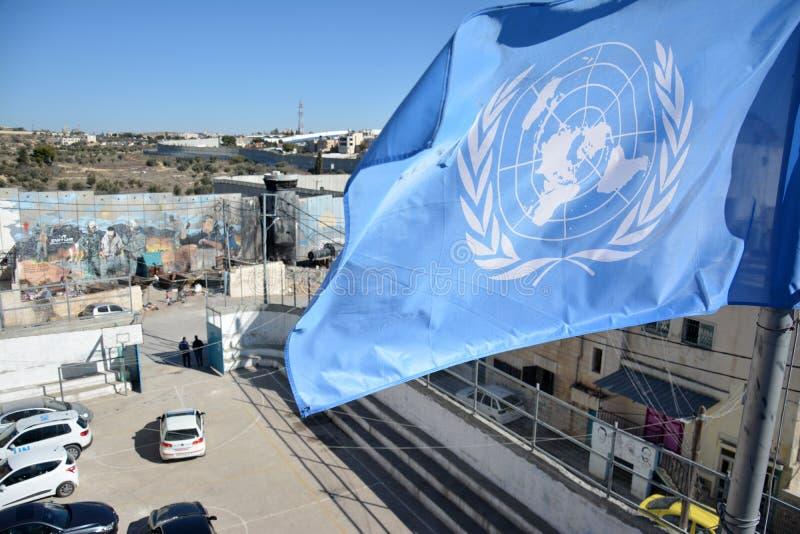 Belén, Palestina 6 de enero de 2017 - Aida Refugee Camp In Pa foto de archivo