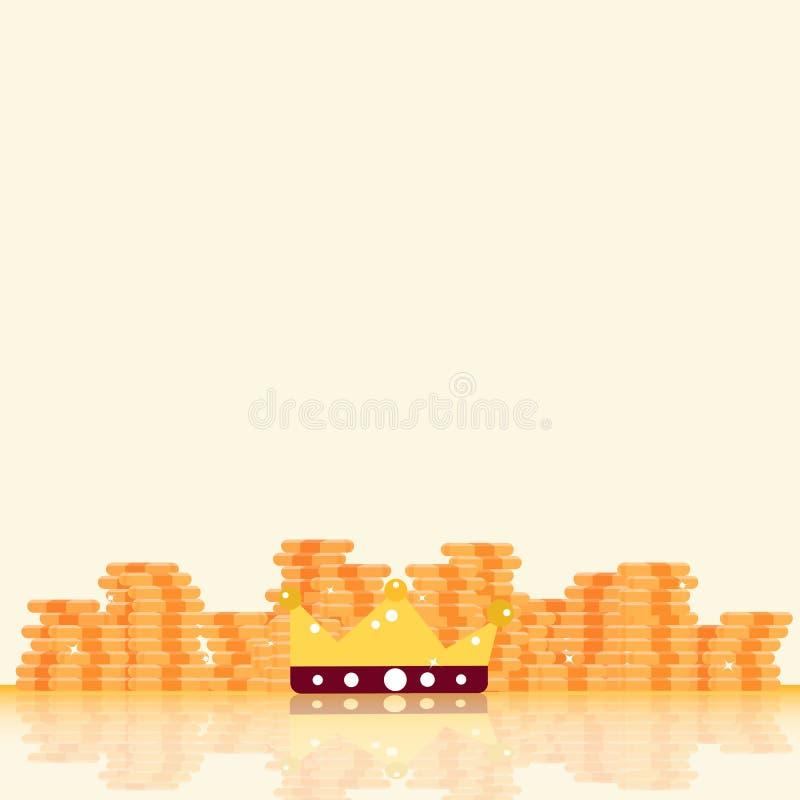Belöning för guld- mynt, bitcoin-, pengar- och konungkronamed stjärnaskenbenet royaltyfri illustrationer