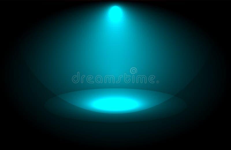 Bel éclairage de projecteur présentation large d'équipement de lentille en démonstration la nuit Fond abstrait de fumée illustration stock