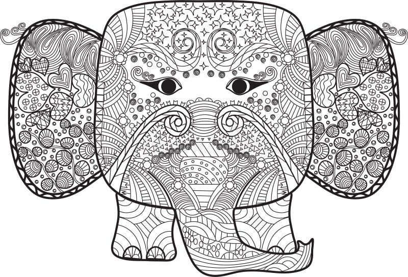 Bel éléphant abstrait avec des griffonnages pour livre de coloriage , adulte et enfants photo libre de droits