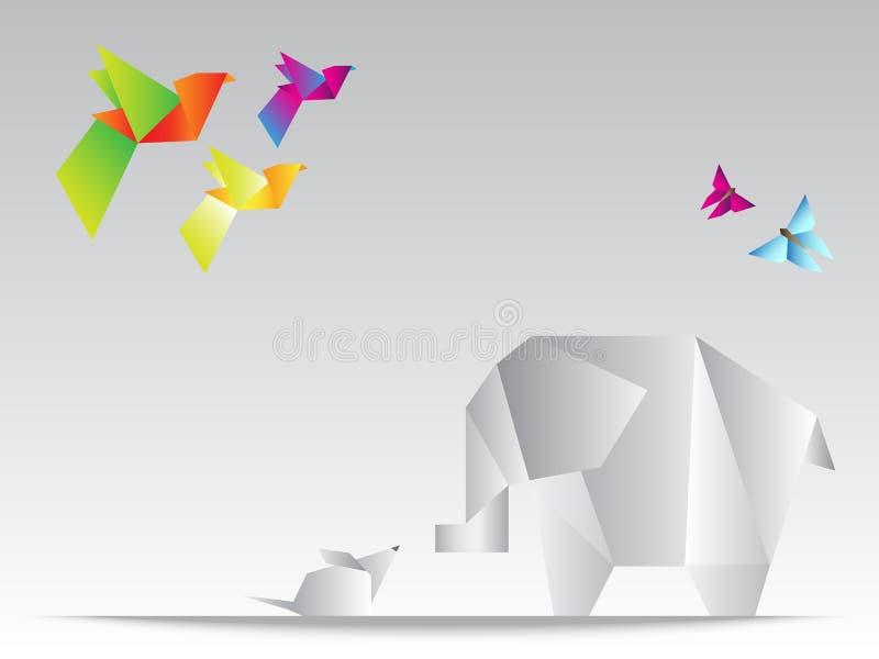 Bel éléphant géométrique de triangles avec la souris, le papillon et les oiseaux colorés illustration stock