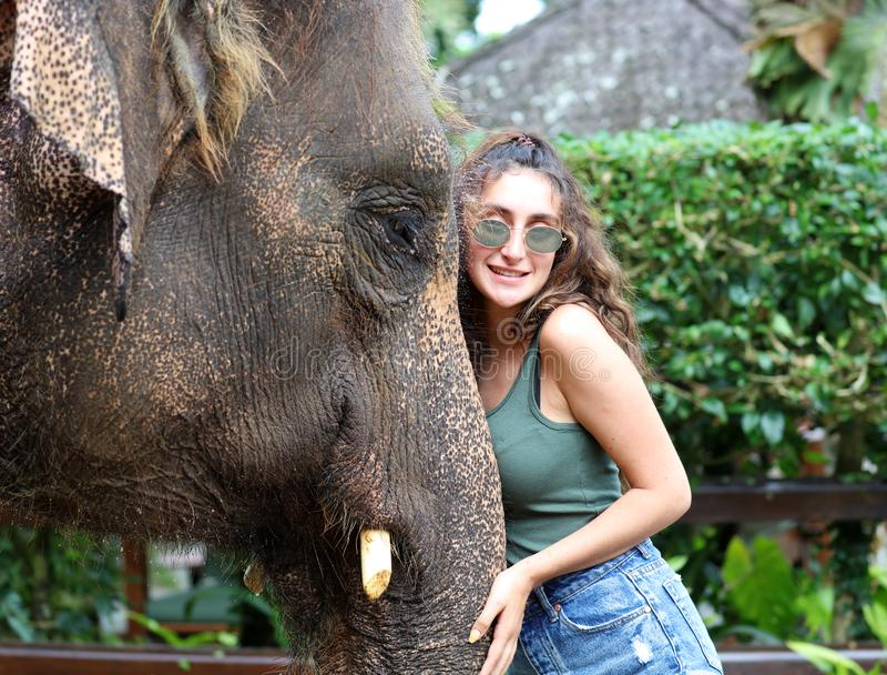 Bel éléphant unique avec la fille à une réservation de conservation d'éléphants dans Bali Indonésie photos stock