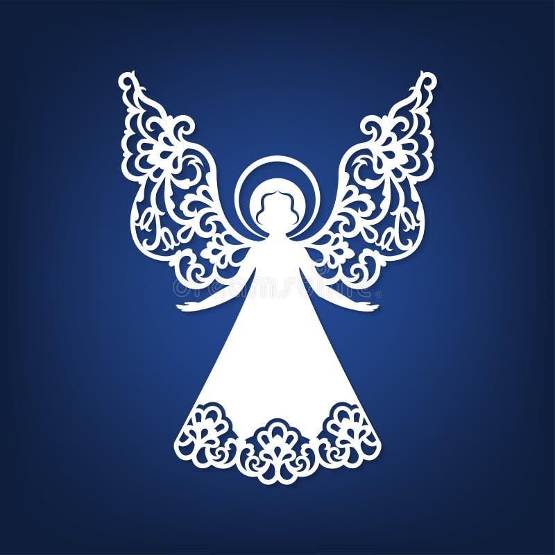 Bel ange avec les ailes ornementales et le halo illustration de vecteur