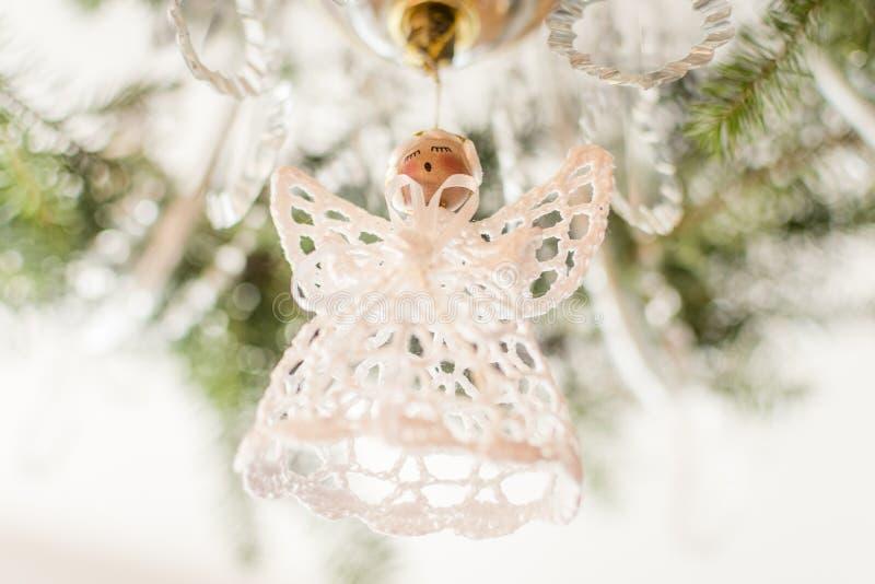 Bel ange de blanc de Noël image stock