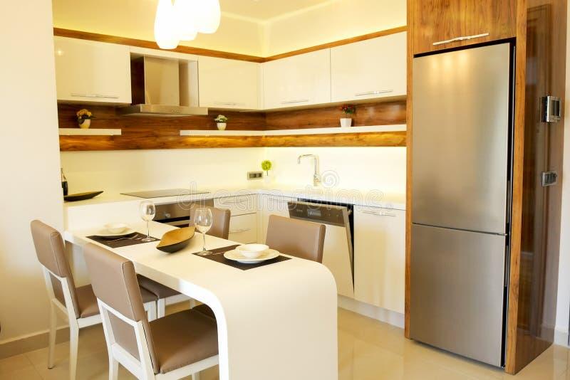 Bel appartement de côté du soleil avec la conception intérieure moderne minimalistic simple, salon ouvert de cuisine de plan au s photo libre de droits