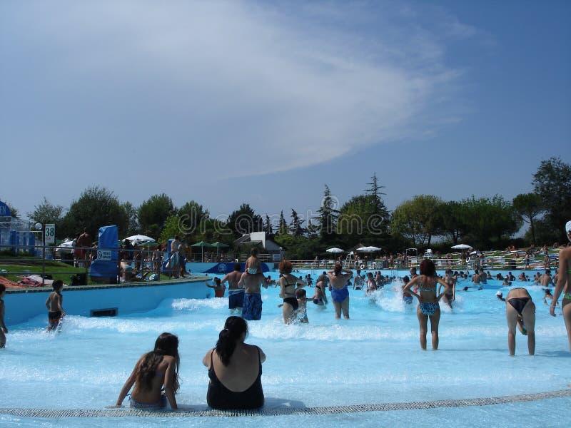 Bel aquapark à Rimini images libres de droits
