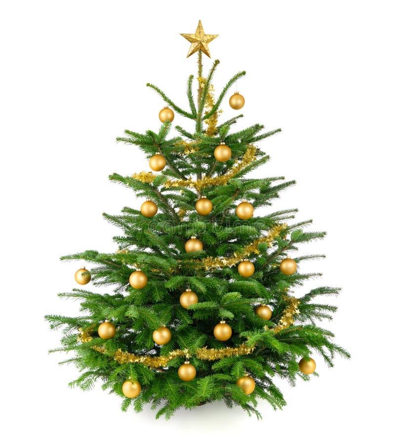 Bel arbre de Noël avec des babioles d'or photographie stock