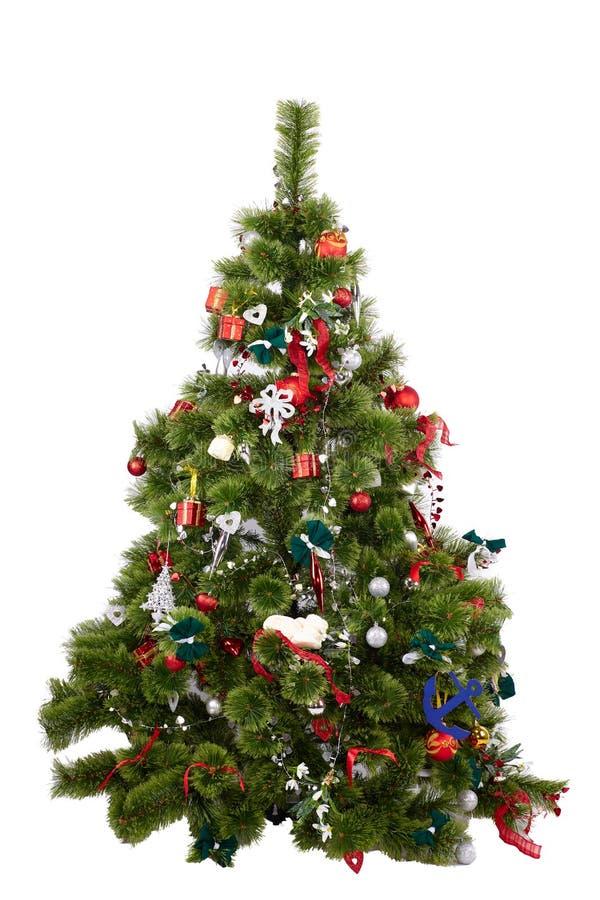 Bel arbre de Noël avec les ornements colorés d'isolement photographie stock libre de droits