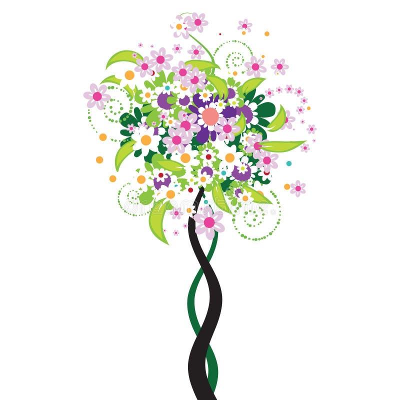 Bel arbre floral illustration de vecteur