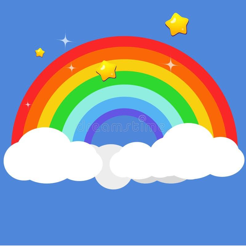 Bel arc-en-ciel sur des nuages avec l'étoile la nuit illustration stock