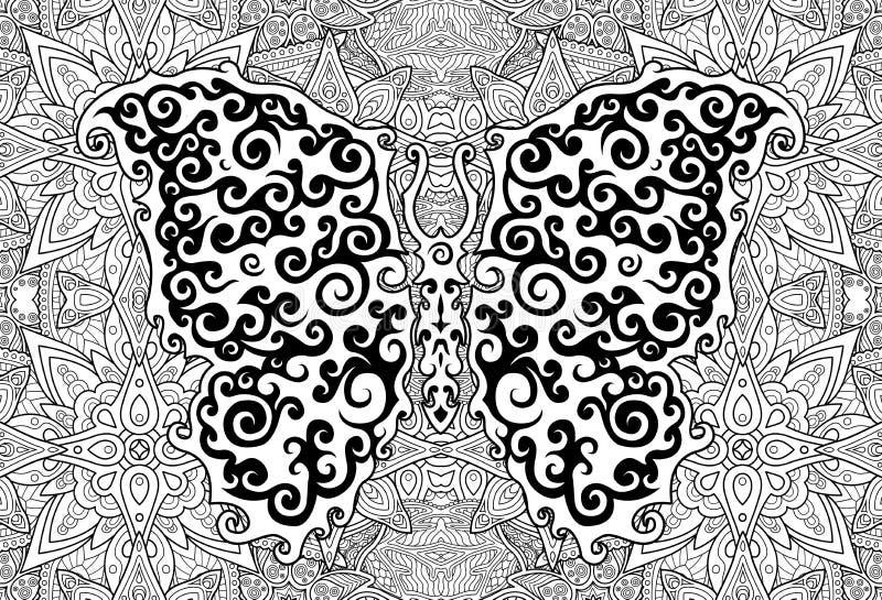 Bel art avec le papillon sur le fond floral illustration libre de droits