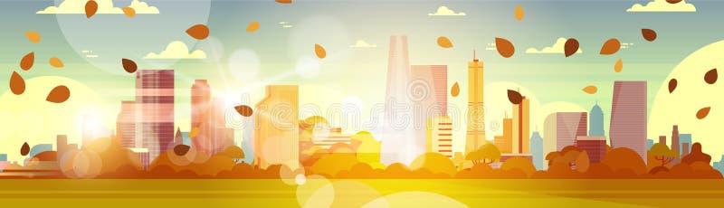 Bel Autumn City Skyline With Yellow laisse voler au soleil au-dessus du concept de paysage urbain de bâtiments de gratte-ciel illustration stock