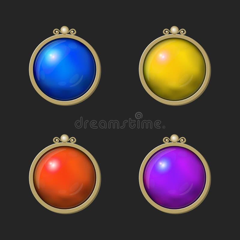 Bel ensemble brillant coloré de rond d'éléments de jeu illustration de vecteur