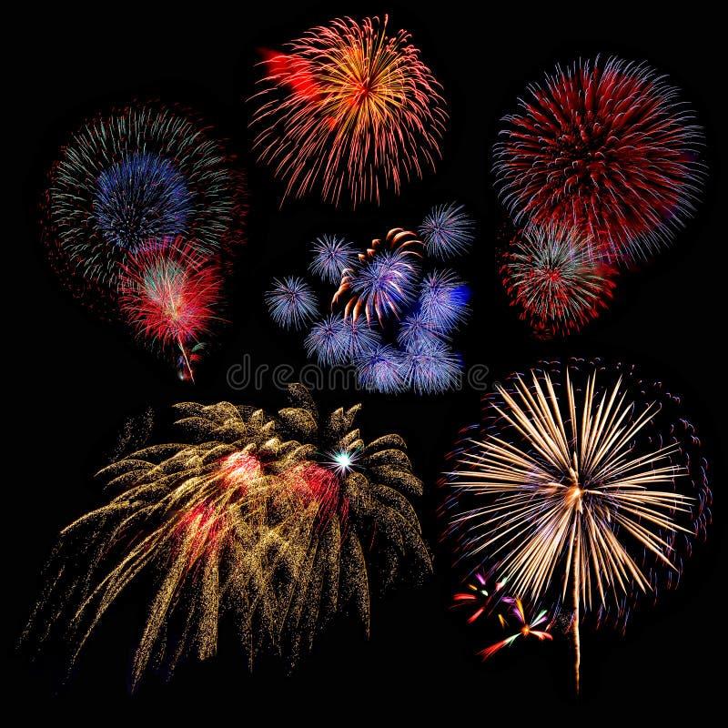 bel ensemble d'affichage coloré de feu d'artifice pour le Ne heureux de célébration photo libre de droits
