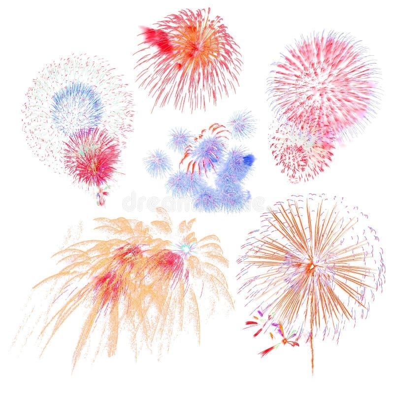 bel ensemble d'affichage coloré de feu d'artifice pour le Ne heureux de célébration photographie stock