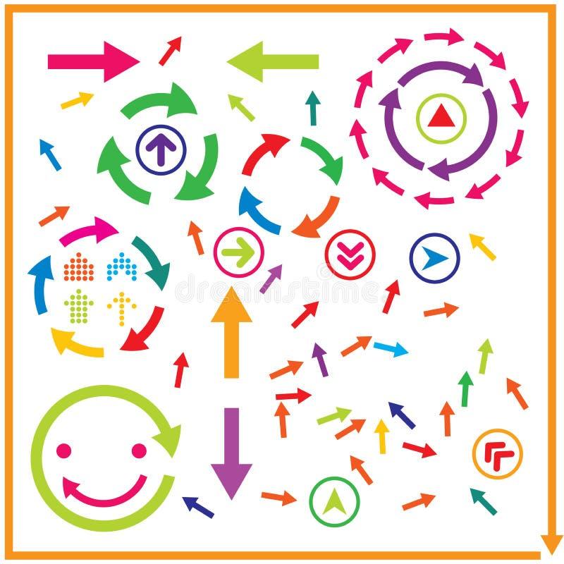 Bel ensemble populaire d'icône de symbole de signe de flèche illustration de vecteur