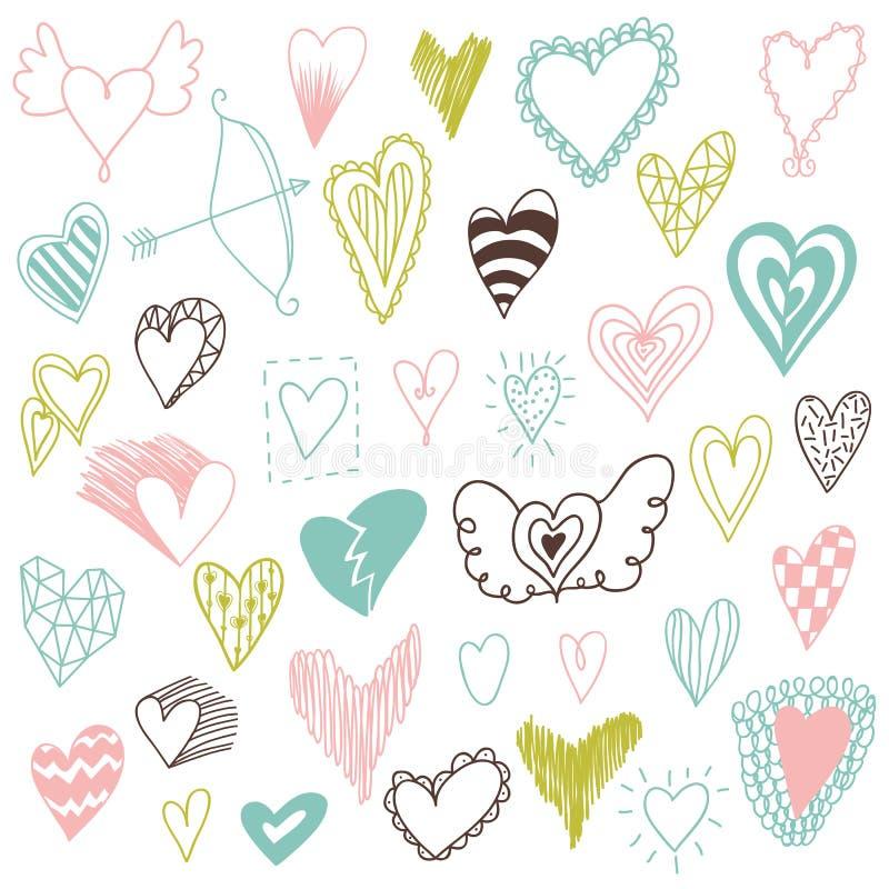 Bel ensemble tiré par la main de différents coeurs Style de Doddle Ensemble de coeurs de valentine pour votre conception illustration libre de droits