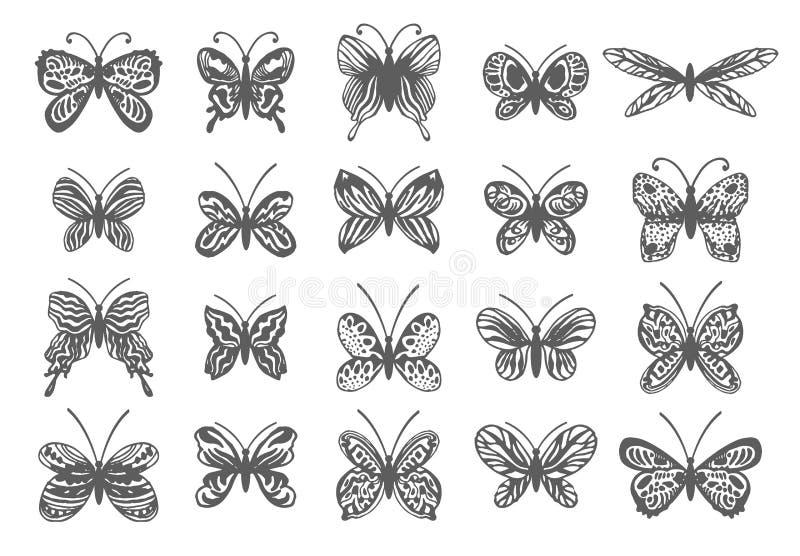 Bel ensemble tropical de papillons Dirigez les éléments d'isolement sur le fond blanc illustration libre de droits