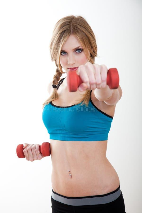 Bel exercice caucasien blond de femme photographie stock