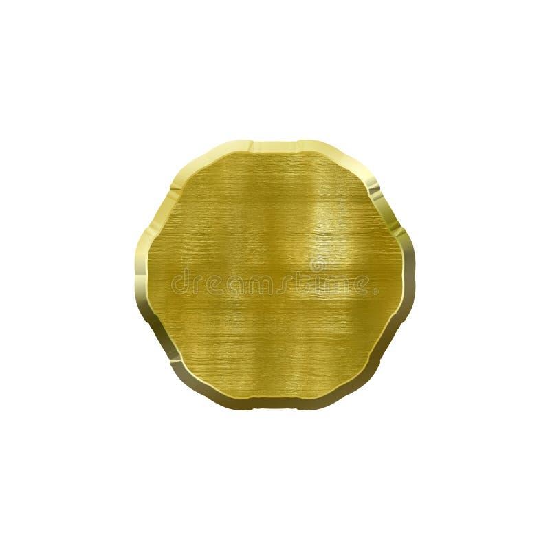 Bel?gga med metall emblemet med den metalliska gr?nsen i form av cirkeln fotografering för bildbyråer