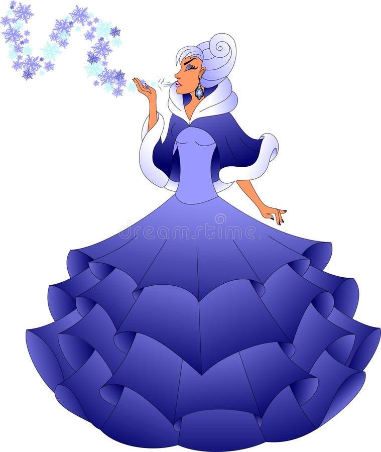 Bel hiver dans une robe bleue luxuriante images libres de droits