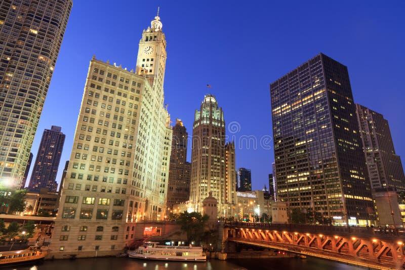 Bel horizon de nuit de Chicago photos stock