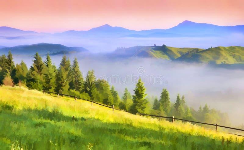 Bel horizontal de source dans les montagnes images stock