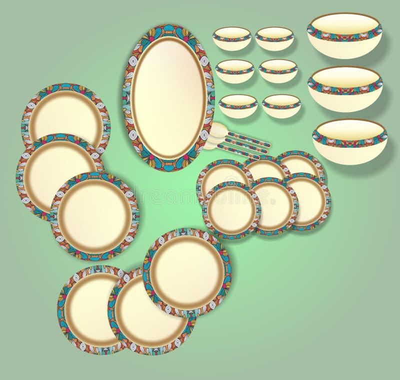 Bel ivoire avec la conception générée par ordinateur colorée d'illustration d'ensemble de dîner de frontière illustration stock