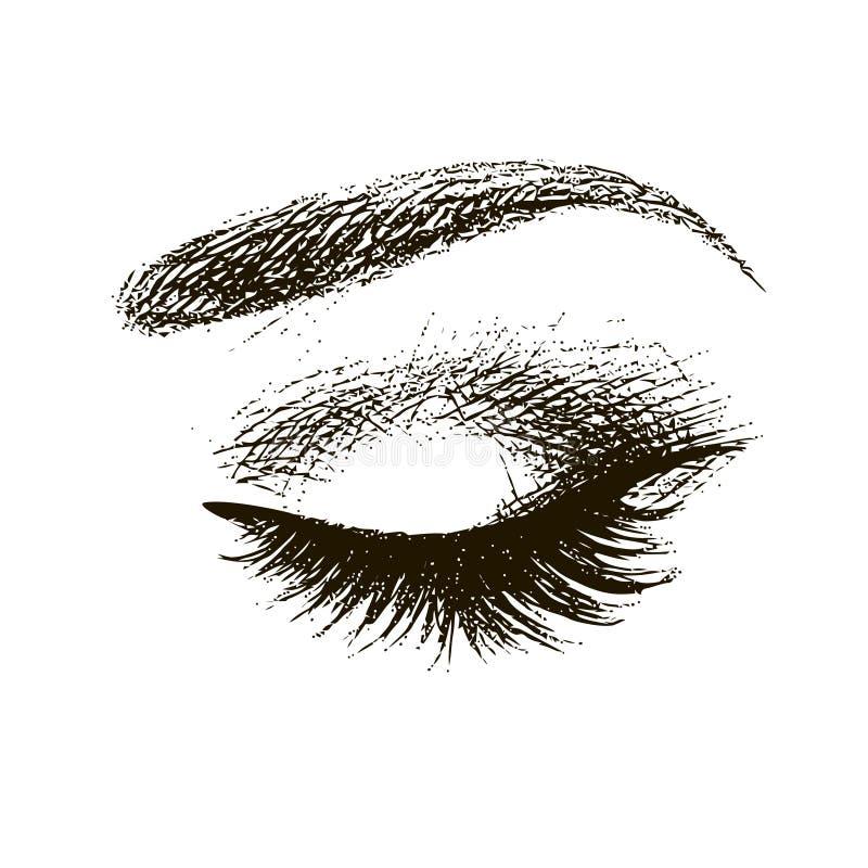 Bel oeil femelle fermé illustration de vecteur