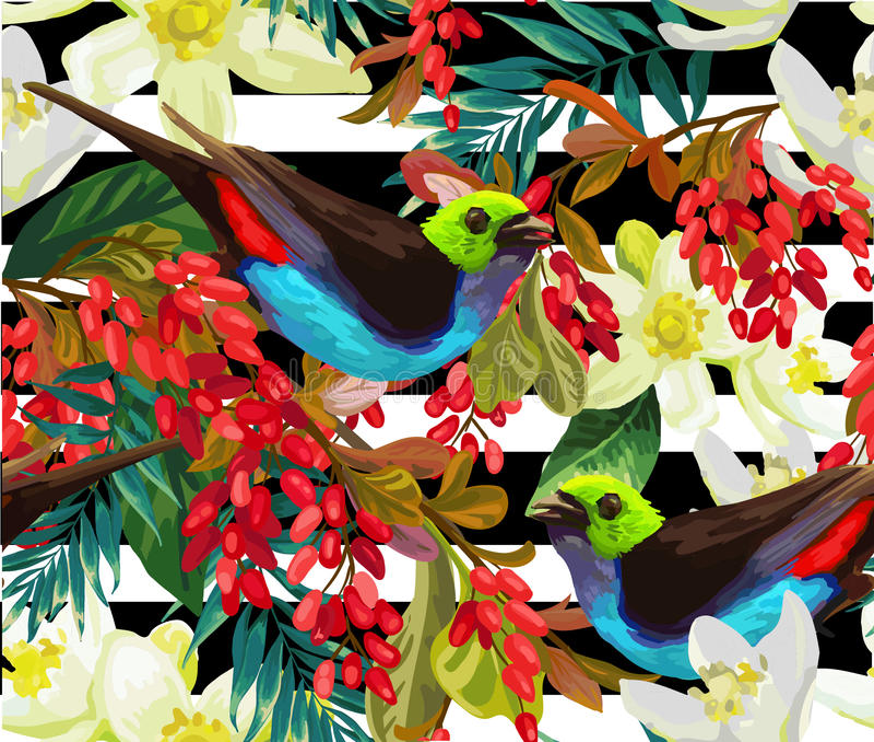 Download Bel Oiseau, Baies Rouges Et Fleurs Blanches Illustration de Vecteur - Illustration du botanique, fond: 76087282