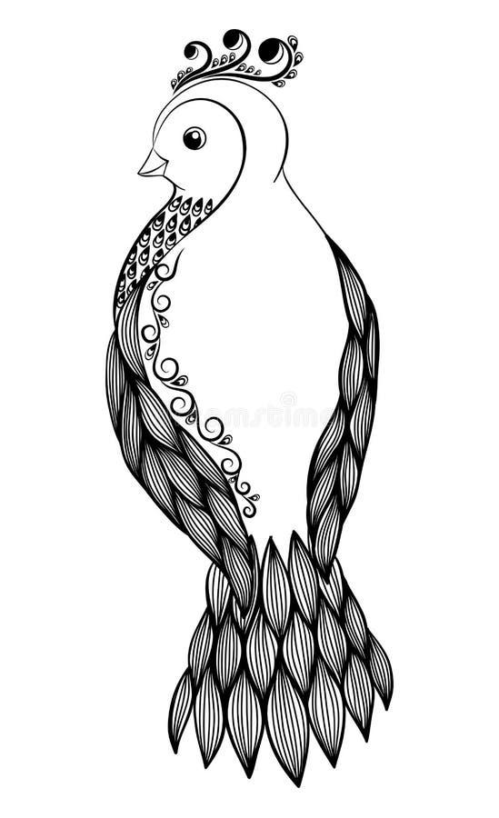 Bel Oiseau Noir Et Blanc Abstrait Dans Le Style Floral