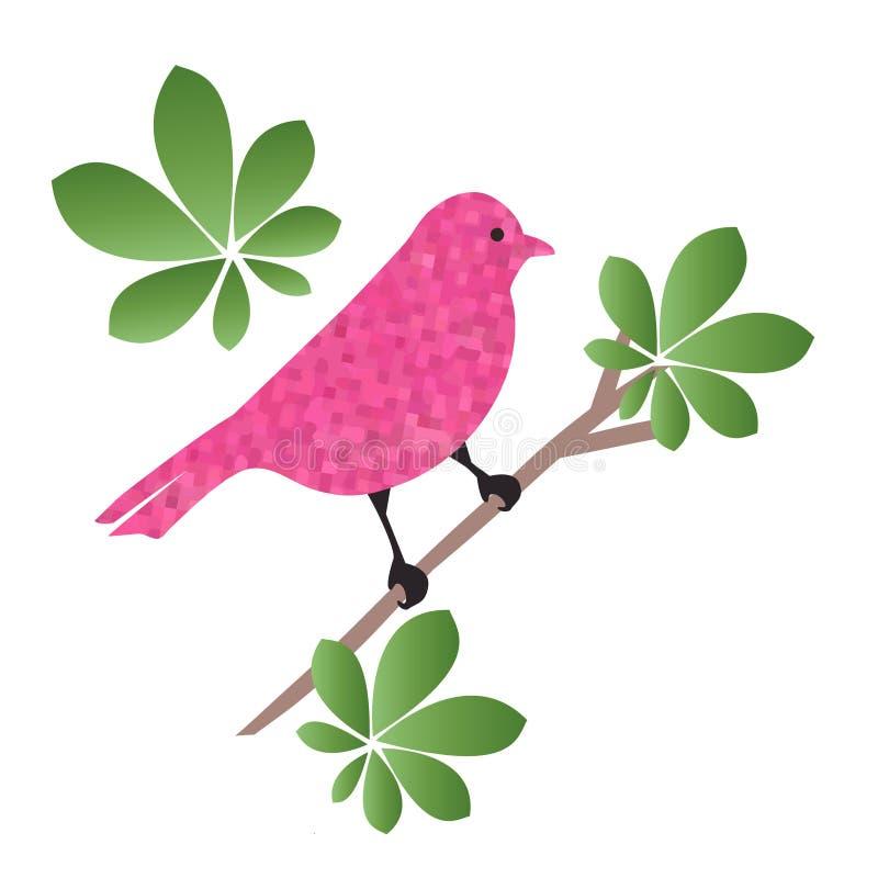 Bel oiseau stylisé été perché sur une branche illustration stock
