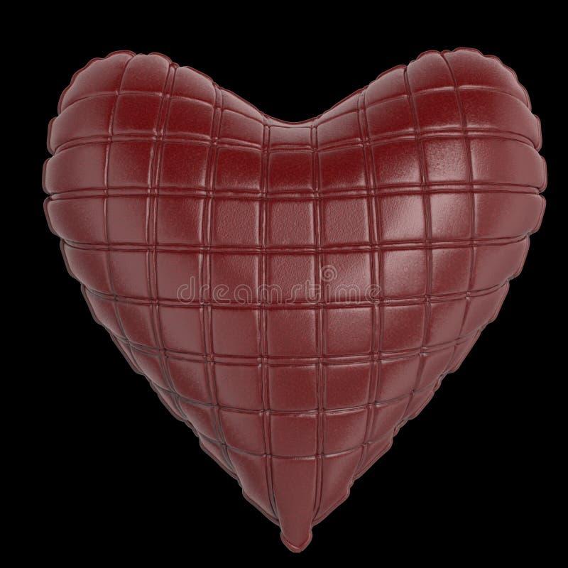 Bel oreiller en forme de coeur en cuir brillant piqué Façonnez le concept fait main pour l'amour, romance, jour de valentines illustration de vecteur