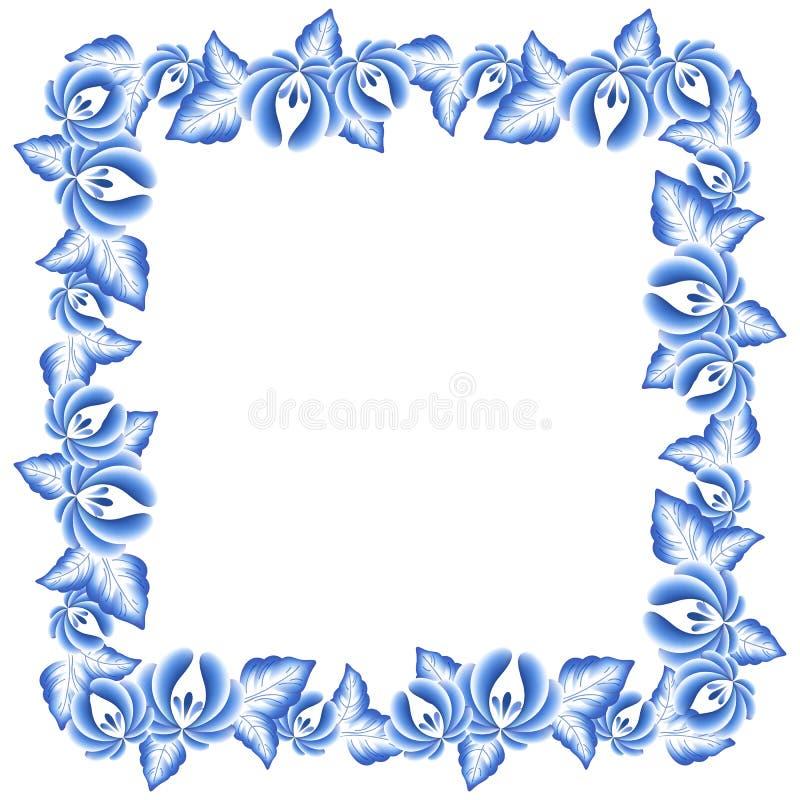 Bel ornement folklorique de porcelaine russe florale bleue de fleurs illustration stock