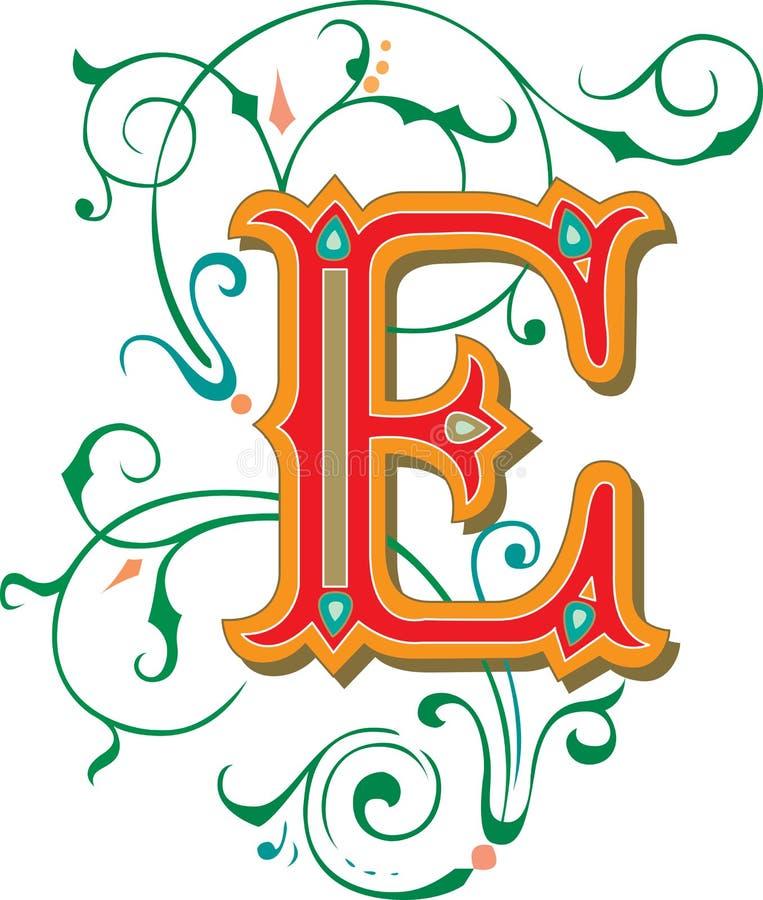 Bel ornement, lettre E illustration libre de droits