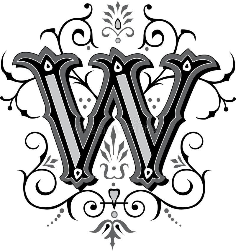 Bel ornement, lettre W illustration stock
