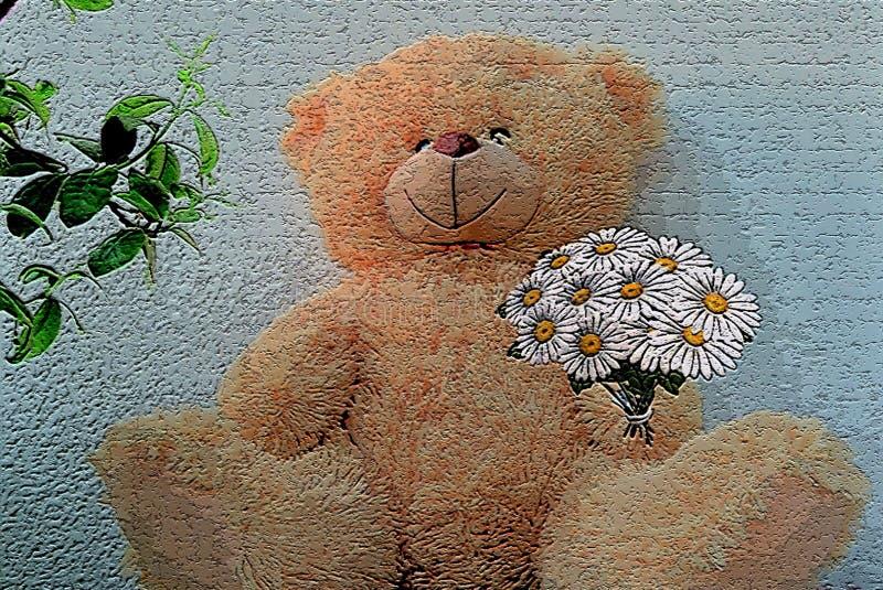 Bel ours de nounours avec un bouquet des marguerites blanches images libres de droits