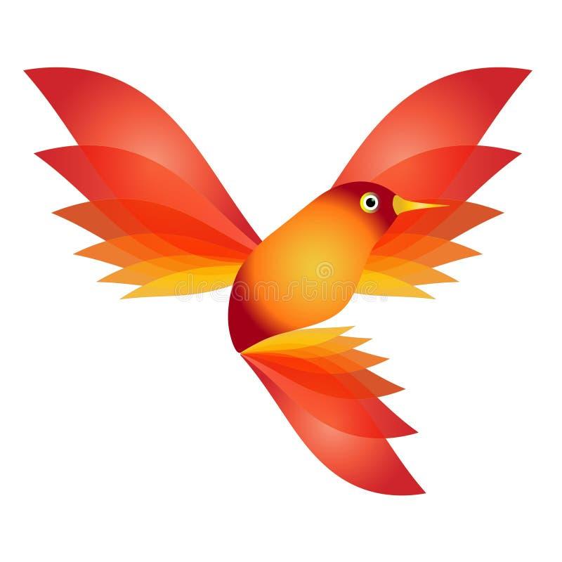 Bel petit oiseau coloré rouge illustration de vecteur