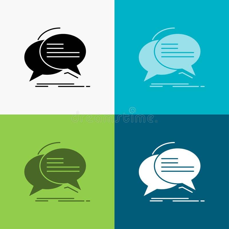 Bel, praatje, mededeling, toespraak, besprekingspictogram over Diverse Achtergrond glyph stijlontwerp, voor Web dat en app wordt  stock illustratie
