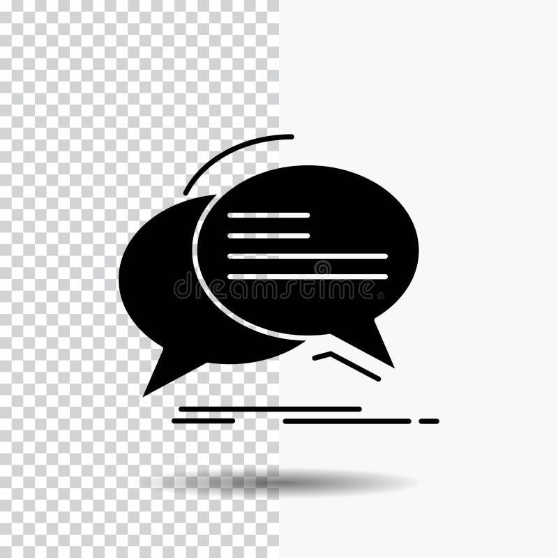 Bel, praatje, mededeling, toespraak, het Pictogram van besprekingsglyph op Transparante Achtergrond Zwart pictogram royalty-vrije illustratie